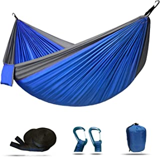 Double Camping Hammock Lightweight Nylon Parachute for Indoor Outdoor Backpacking Camping Travel Beach Yard 118(L) x 78(W)...