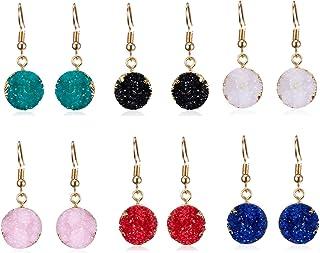 ATIMIGO Druzy Dangle Drop Hook Earrings Set for Girls Women Hypoallergenic Pierced Earrings 6 Pairs
