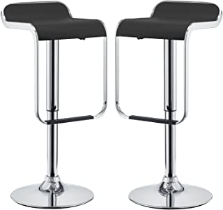 Modway LEM Two Mid-Century Modern Adjustable Swivel Bar Stools with Faux Leather Upholstered Seat Cushion in Black