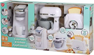 PlayGo - 3-Pc. Gourmet Kitchen Appliance Set (White) Realistic Sounds and Lights, Includes Coffee Maker, Mixer and Blender