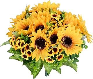 YQing 2 Pièces Artificielles Tournesol Bouquet Fleur, Fausse Bouquet de Fleurs Plants Tournesol Decoration pour Décoration...