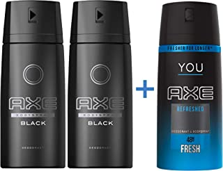 Axe Bodyspray for men Black McQueen, 150ml, 2 pieces + Axe You Refresh Bodyspray FREE