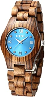 LEFTLY Women Wooden Watch Quartz Movement Lightweight Blue Face Analog Wrist Watches