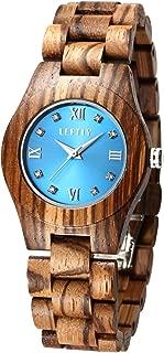LEFTLY Women Wooden Watch Quartz Movement Lightweight Blue Face Analog Wrist Watches