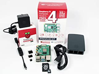 Raspberry Pi 4 Computer OFFICIAL PREMIUM KIT with MicroSD 32GB (Black, 4GB RAM)