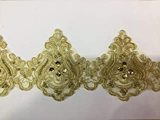 Beaded Lace Trim Sequinned Vintage Decorative Wedding/Bridal DIY Craft Sewing Coloured Fabric TR3 (Gold 5 Yards)