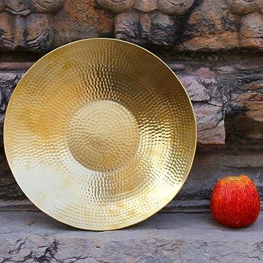 De Kulture Works Handcrafted Pure Brass Fruit Platter (Gold)
