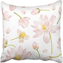 Emvency Decorative Throw Pillow Covers Cases Botanical with Pink Lotus Flowers for Natural Cosmetics Health Care and Ayurveda Products Yoga 18x18 Inches Pillowcases Case Cover Cushion Two Sided