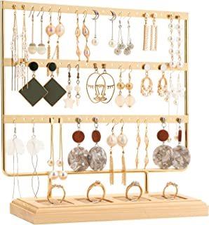 DHMK Earring Stand Organizer 3Tier Earring Holder 60 Holes Dispaly Rack with Ring Wooden Stand for Hanging Earring Stud Jewelry Stand (Gold)