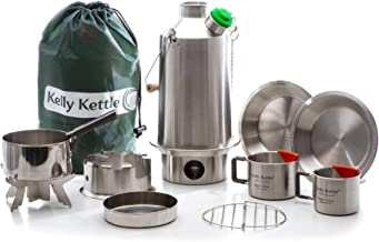 Base Camp 54 oz. Stainless Steel Kelly Kettle Ultimate (1.6 LTR) Rocket Stove Boils Water Ultra Fast with just Sticks/Twigs. for Camping, Fishing, Scouts, Hunting, Emergencies, Hurricanes, Tornados