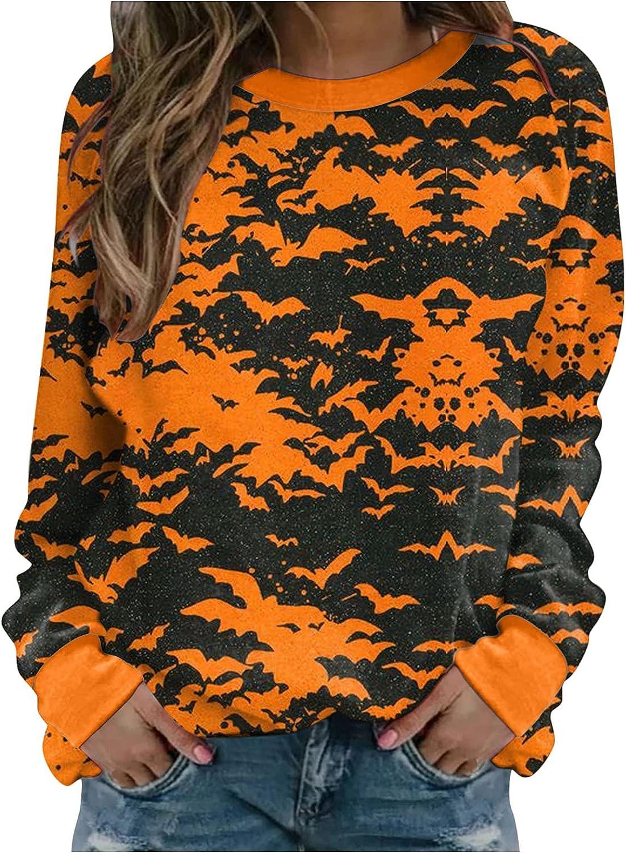 Jaqqra Halloween Shirts for Women Long Sleeve Bat Print Crewneck Sweatshirts Loose Pullover Tops Costumes Sweaters