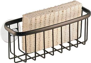 InterDesign Axis Kitchen Sink Suction Holder for Sponges, Scrub Brushes, Soap - Bronze