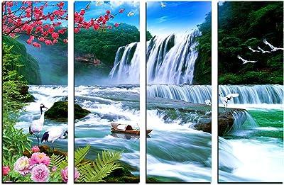 eCraftIndia 4 Panel Waterfall Scenic View Premium Canvas Painting (100 cm x 1 cm x 61 cm, Set of 4)