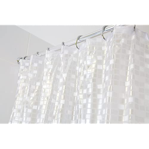 Croydex Silver Mosaic Fully Waterproof PVC Shower Curtain