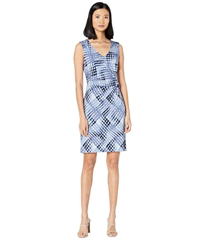 NIC+ZOE Petite Crossover Twist Dress (Blue Multi) Women