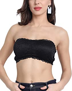 Shocknshop Black Floral Padded Bandeau Tube Top Bra for Women and Girls BLT-18 (Free Size 28 to 34)