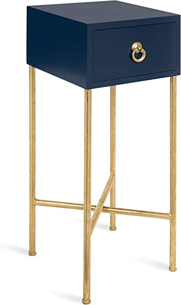 Kate And Laurel Decklyn Modern Glam Wood Side Accent Table With Drawer Navy Gold