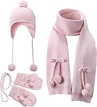 Vivobiniya Baby Hat Scarf Gloves 3pcs/Set Toddler Girl Winter Warm Set (2-4years Old(18.8-20.4in), Pink (hat2+Scarf+ Gloves))