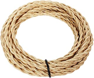 25ft Fabric Cloth Covered Lamp Twisted Wire,PRUNLLA Vintage 18/2 Industrial Electrical Cord,18-Gauge Antique Style for Retro Lamp,DIY Projects (Beige)