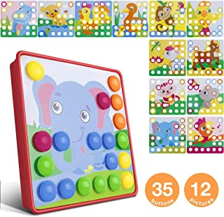Furado Button Art Toys for Toddlers, Color Button Art Matching Mosaic Pegboard Toy Set,DIY Early Learning Educational Puzzle Peg Board Games Best Gift for Preschool Kids Boys Girls