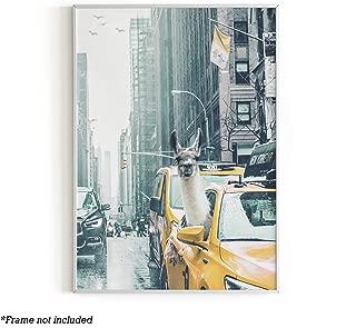 "Urban Willow - Art Prints, Llama Dorm Decor, Llama Wall Art, Dope Posters for Boys Room, Cute Posters for College Dorm, Cute Wall Decor, Funny & Cool Posters, Llama Accessories, 12"" x 16"" (Llama Taxi)"