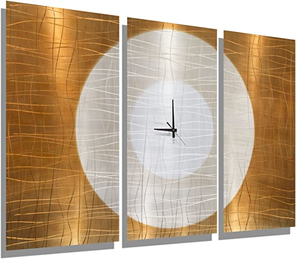 Statements2000 Large Gold Abstract Metal Wall Clock Handcrafted Functional Art Etched Modern Metal Wall Clock Warm Embrace By Jon Allen 38 Inch