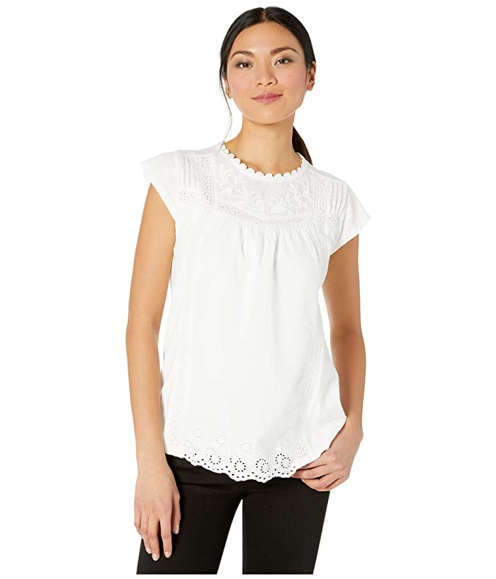 Lucky Brand  Cap Sleeve Crew Neck Knit Woven Mix Printed Top (Bright White) Womens Clothing