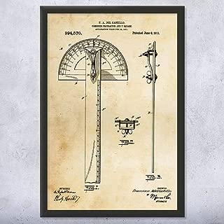 Framed Protractor T-Square Print, Architect Gifts, Drafting Tools, Carpenter Gifts, Graphic Designer, Garage Workshop Vintage Paper (5