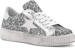 RICCIANERA Sneakers Glitter con Lacci, Made in Italy - Colore Argento