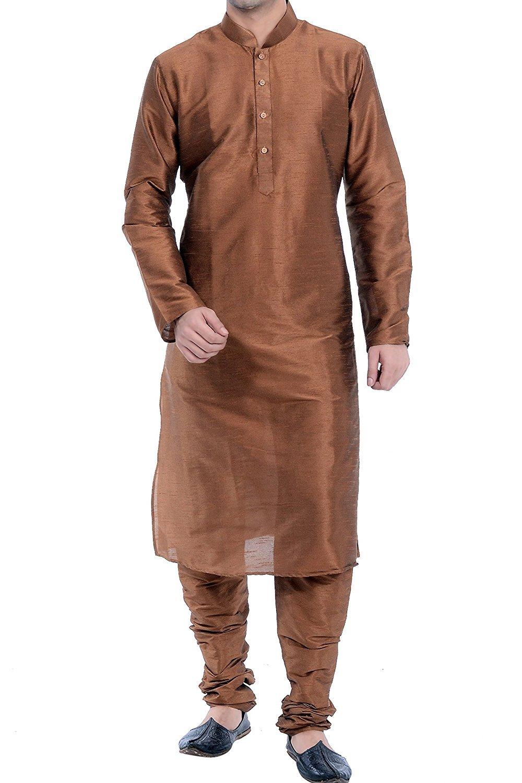ROYAL FOCIL Diwali Special Silk Blend Brown Men's Kurta Pyjama