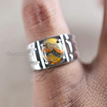 bumble bee jasper ring, handmade jewelry, heavy men jewelry, 925 sterling silver ring, prong ring, man's ring, birthday gift ring, anniversary gift, natural gemstone ring, statement ring