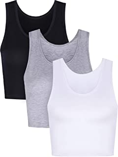 BOAO 3 Pieces Women Crop Tank Top Cotton Basic Sleeveless Short Sports Crop Top for Ladies Wearing