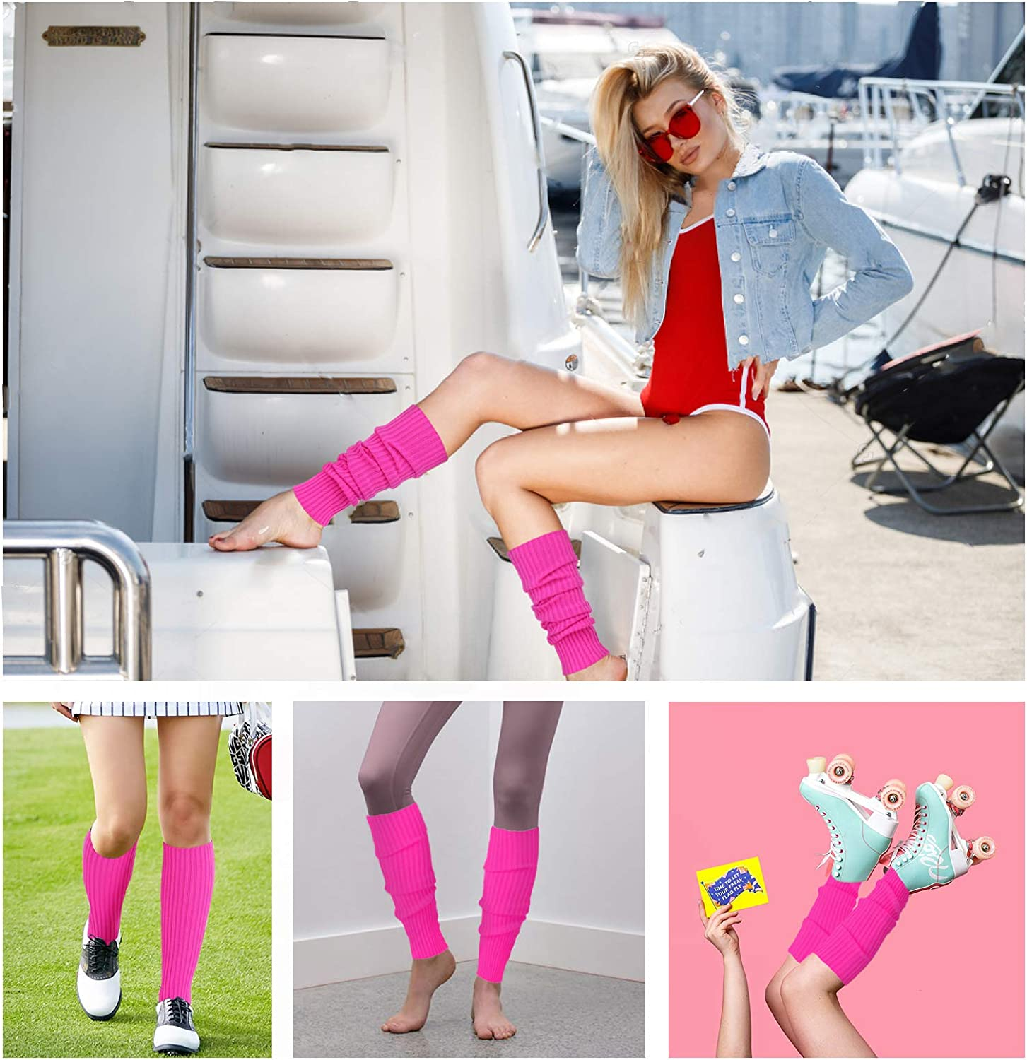 v28 Women Juniors Neon Ribbed Leg Warmers for 80s Eighty's Party Sports Yoga