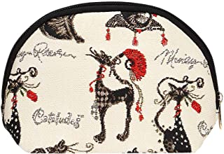 Signare Tapestry Black and White Cosmetic Makeup Toiletry Bag Case in Catitude by Marilyn Robertson (COSM-CUDE)