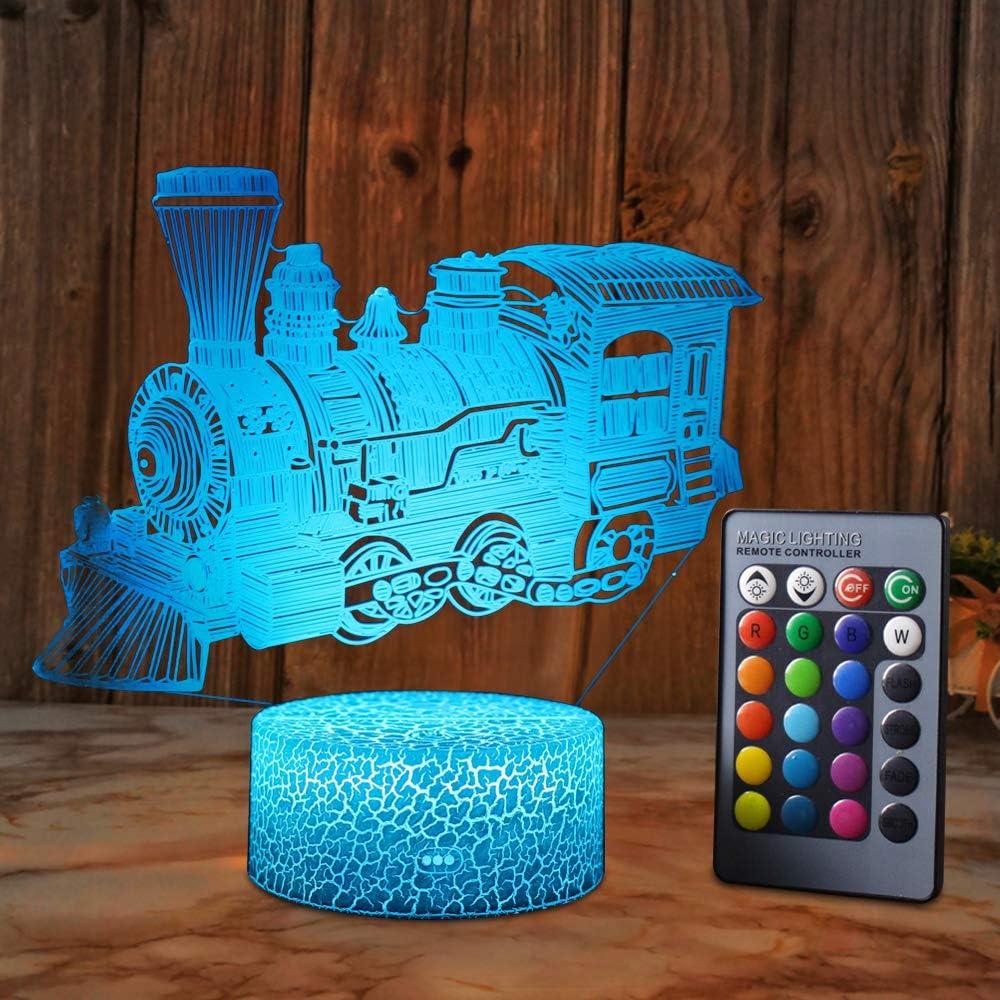 XEUYUTR decoración de luz de tren lindo tren luz de noche lámpara de mesa de dormitorio 16 colores decoración de fiesta luces de Navidad regalo de cumpleaños regalo de niños bebé niño