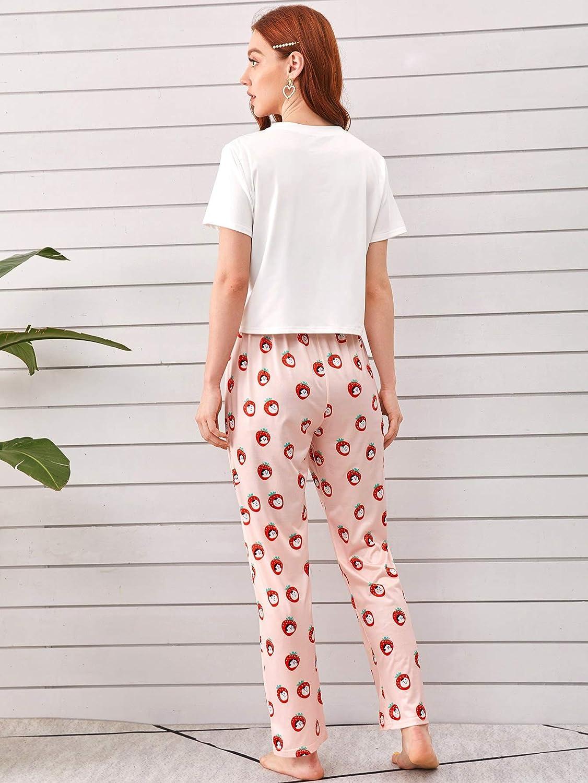 Milumia Women Short Sleeves Round Neck Tops Pants Pajamas PJ Sets Sleepwear