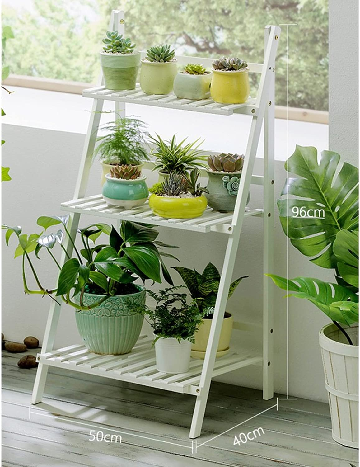 8fdb1e428a54 NYDZDM 3-Tier Flower Stand Wooden Potted Plant Display Ladder Planter Shelf  Floor-Standing Herb Pot Rack Foldable Multilayer White 50 100×40×96cm ...