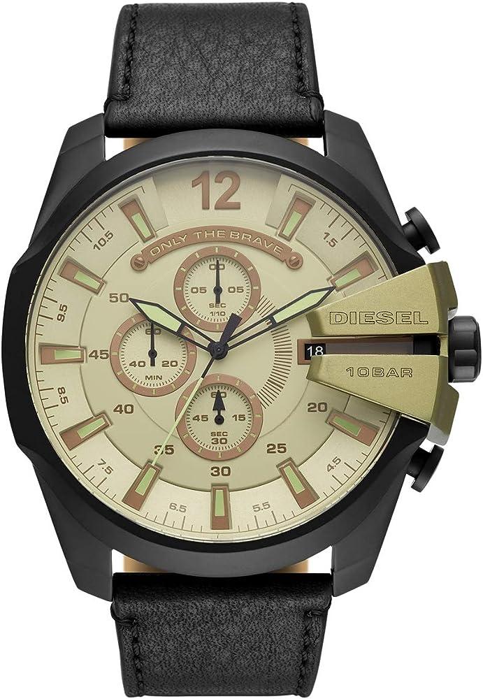 Diesel orologio cronografo da uomo con cinturino in vera pelle e cassa in acciaio inossidabile DZ4495