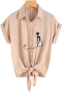 Women's Tie Front Knot Basic Simple Button-Down Shirt with Cute Cat Embroidered