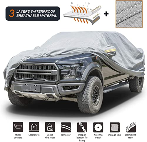"""high quality Coverado Soft Shell Car Cover Waterproof Windproof Snowproof All Season Weather-Proof Fit outlet online sale for Ford sale F150 Ram 1500 Chevy Silverado Toyota Tundra GMC Sierra Full Size Truck Length Up to 233"""" outlet online sale"""