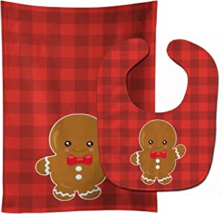 Christmas Gingerbread Boy Baby Bib & Burp Cloth