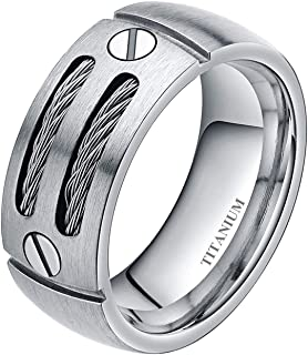 8mm Men's Cable Inlay Titanium Ring Screw Design Comfort Fit Size 7-15