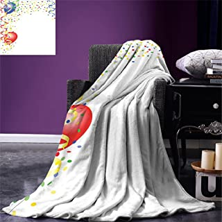 smallbeefly Kids Party Super Soft Lightweight Blanket Childrens Birthday Concept with Balloons and Confetti Happy Surprise Cheerful Oversized Travel Throw Cover Blanket Multicolor