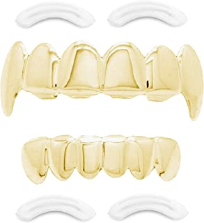 Best 24K Plated Joker Gold Grillz for Mouth Top Bottom Hip Hop Teeth Grills for Teeth Mouth + 2 Extra Molding Bars + Microfiber Cloth Reviews