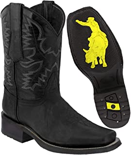 Men's Leather Western Cowboy Boots Rubber Sole Square Toe