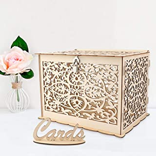 E-Eternity DIY Wedding Card Box with Lock and Card,Sign Wooden Hollow Wedding Money Box Holder for Reception Wedding Anniversary Baby Shower Birthday Graduation Party Decorations