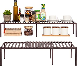 STORAGE MANIAC 2-Pack Expandable Kitchen Counter and Cabinet Shelf, Storage Rack Organizer for Kitchen, Cabinet, Bathroom,...