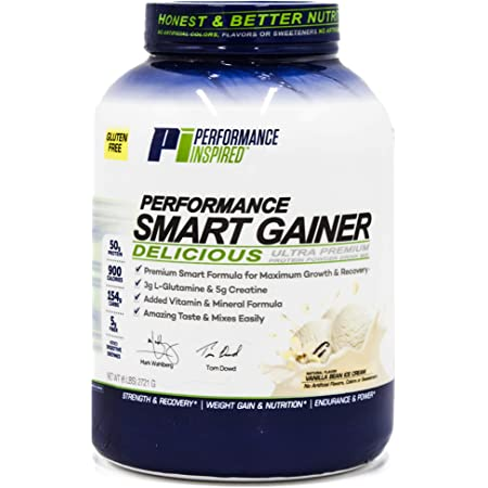 Performance Inspired Nutrition Smart Mass Gainer - Recover & Rebuild Muscles - Contains Added L-Glutamine – Big 50G Protein - Creatine - Fiber - Digestive Enzymes - Vanilla Bean Ice Cream - 6LBS