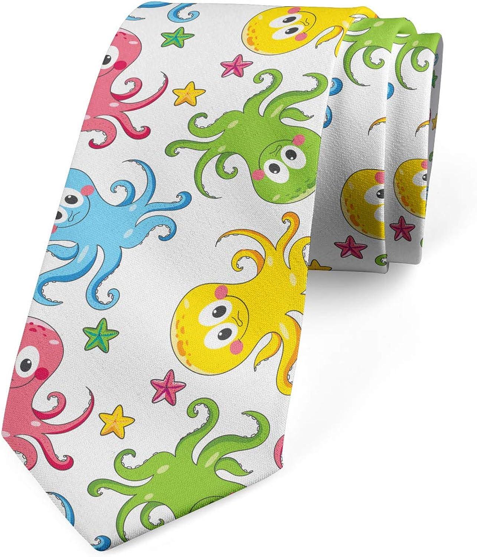 Ambesonne Men's Tie, Cheerful Ocean Animals, Necktie, 3.7