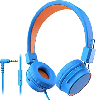 Elepinter Kids Headphones with 85dB Volume Limited Hearing Protection, Tangle-Free Cord, Wired On-Ear Headphone for Children Toddler Teens (Blue Orange)